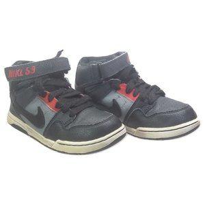 Nike SB black red sneakers hi cut Morgan kids 13C